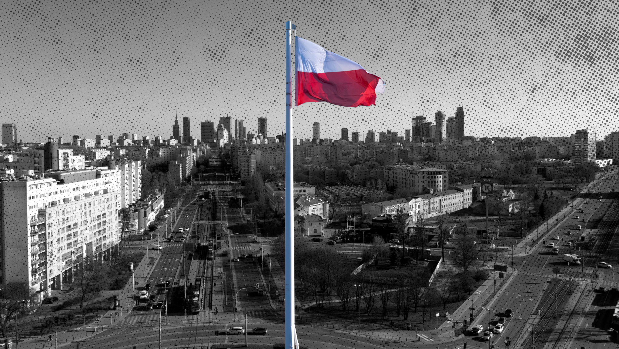 A Polish flag flies over the empty streets in Warsaw, where restrictions on personal movement have been put in place due to coronavirus in Poland.