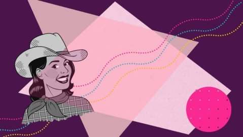 Illustration of rural femme cowgirl on a pink background, representing stories of femme memoirs of country living.