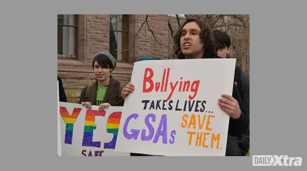 Mississauga Catholic students and GSA activists Leanne Iskander and Christopher Mckerracher.