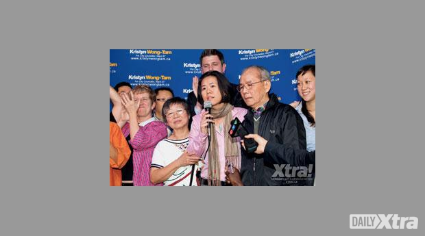 Wong-Tam was joined by her parents at her Oct 25, 2010, election victory party.
