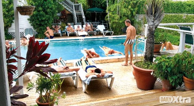 Poolside at one of the many men's resorts in Key West.