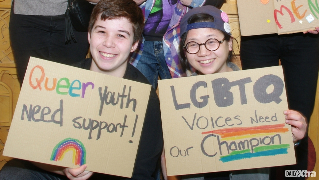 Andy Legge and Avery Shannon joined a group of students to lobby the Vancouver School Board to ...